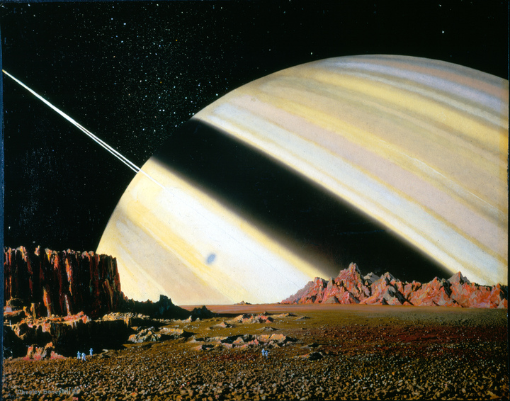 Charles Bonestell's Saturn as seen from Mimas, 1944. (Photo: Reproduced courtesy of Bonestell LLC)