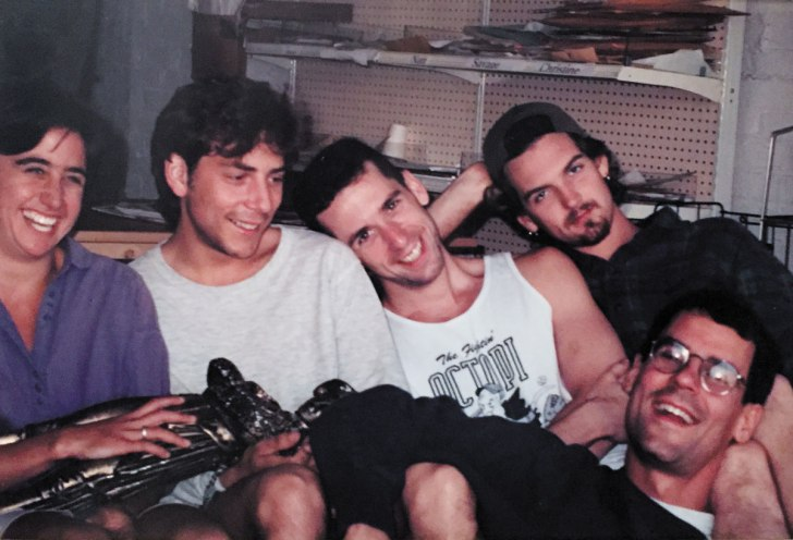 (Left to right) Nancy Hartunian, Tim Keck, Dan Savage, Sean Hurley, James Sturm.