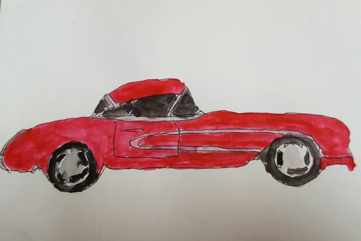 Red Car Watercolor by Marcy Dermansky