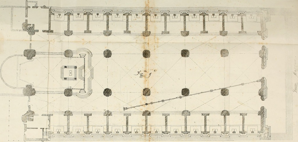 Giovanni Domenico Cassini's floorplan of San Petronio, showing the meridian line. INTERNET ARCHIVE/PUBLIC DOMAIN