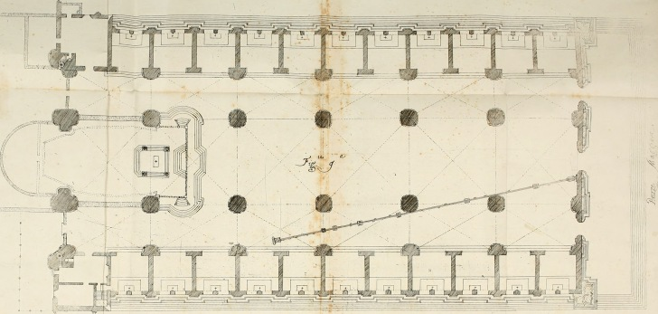 Giovanni Domenico Cassini's floorplan of San Petronio, showing the meridian line. INTERNET ARCHIVE/PUBLIC DOMAIN