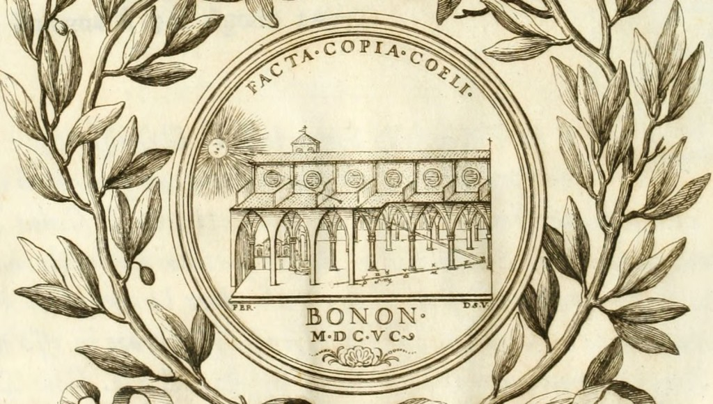 A detail from the frontispiece of Cassini's book La meridiana del tempio di S. Petronio, showing the sun shining into San Petronio and onto the meridian line. INTERNET ARCHIVE/PUBLIC DOMAIN