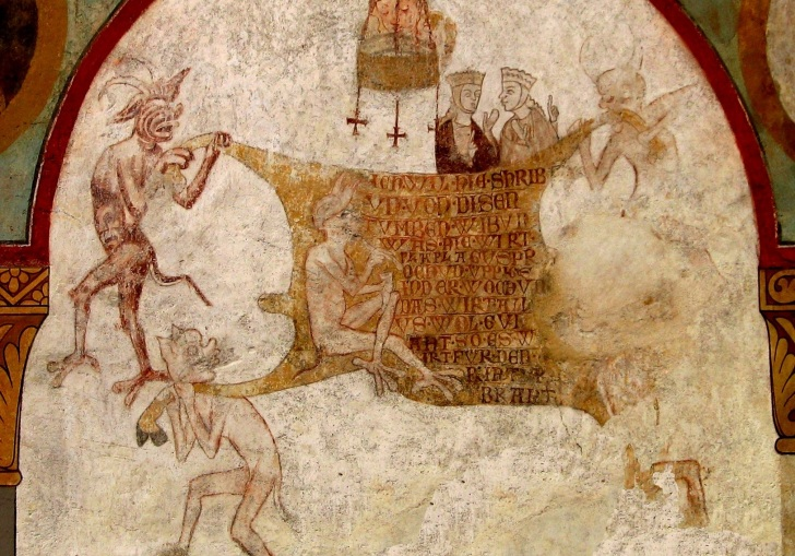 Fresco of the Last Judgment, with animal skin. Via Wikimedia Commons.