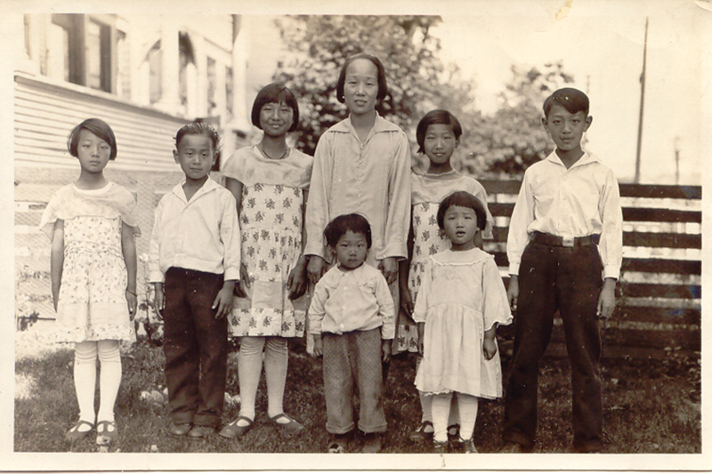 Imogene Lim's family: Grandmother Chan with seven of her eight children in Vancouver. Lim's mother, Lillian, is next to her mother, second from right. Mary is on the far left. Lillian and Mary fled Hong Kong during World War II. IMOGENE LIM