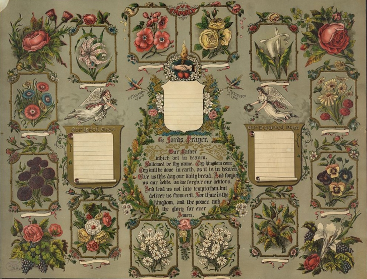 """A 19th century family tree, with spaces for """"loved ones"""" and """"departed ones"""". LIBRARY OF CONGRESS/LC-DIG-PGA-03181"""