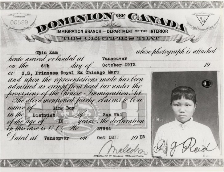 Immigration certificate from 1912 of Chin Kam, half-sister to Lillian. The certificate number is important for providing additional details found in the General Register of Chinese Immigration. The family used both the spellings Chin and Chan as its surname; in Cantonese, it would be pronounced Chun. COURTESY OF STANLEY WONG