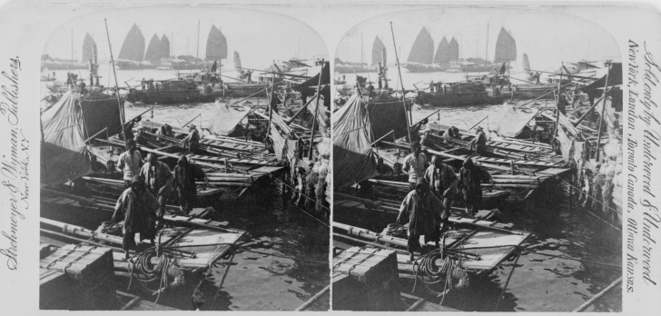 A late 19th century stereograph of Hong Kong harbor. LIBRARY OF CONGRESS/LC-USZ62-120601