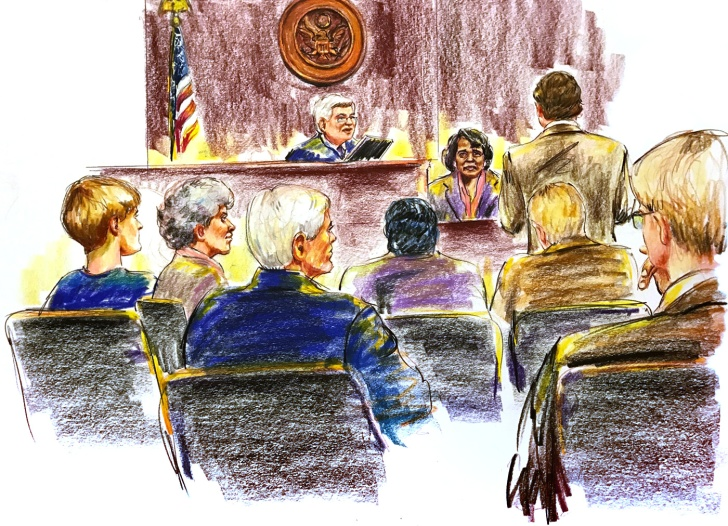 Survivor Polly Sheppard on the stand during the Dylann Roof shooting trial. Illustration by Jerry McJunkins