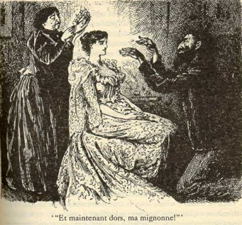 An engraving by George du Maurier for the first edition of the novel. Via .