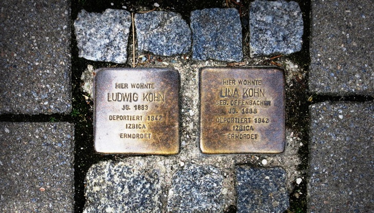 "Stolperstein--literally ""stumbling stones""--commemorate victims of the Holocaust. The Baiersdorfer couple Ludwig and Lina Kohn were dragged from their apartment on Main Street on Kristallnacht. Their traces vanished in the concentration camp Izbica."