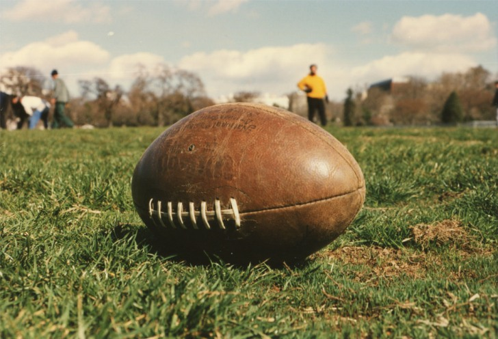 football sitting on a field