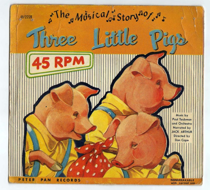 Cover of 45 rpm record of Three Little Pigs