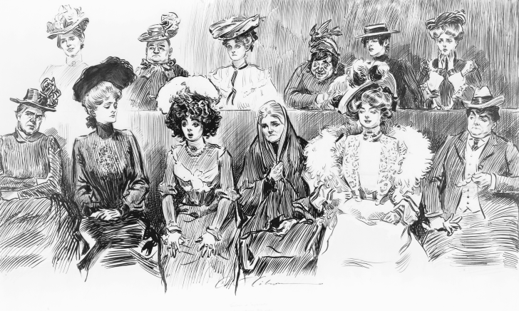 Sketch by Charles Dana Gibson, in the public domain