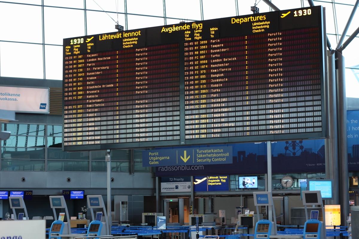 Departures board in airport