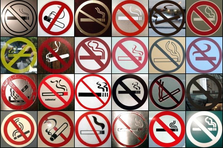 "collage no ""No Smoking"" signs"