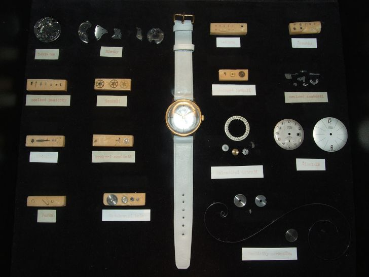 watches and watch parts, on a black background