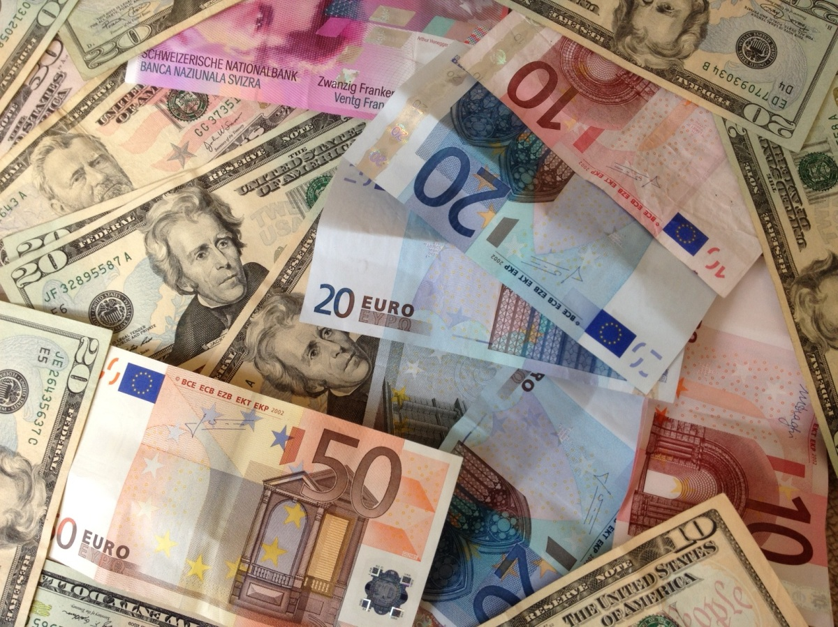 US dollars and euros, paper bills