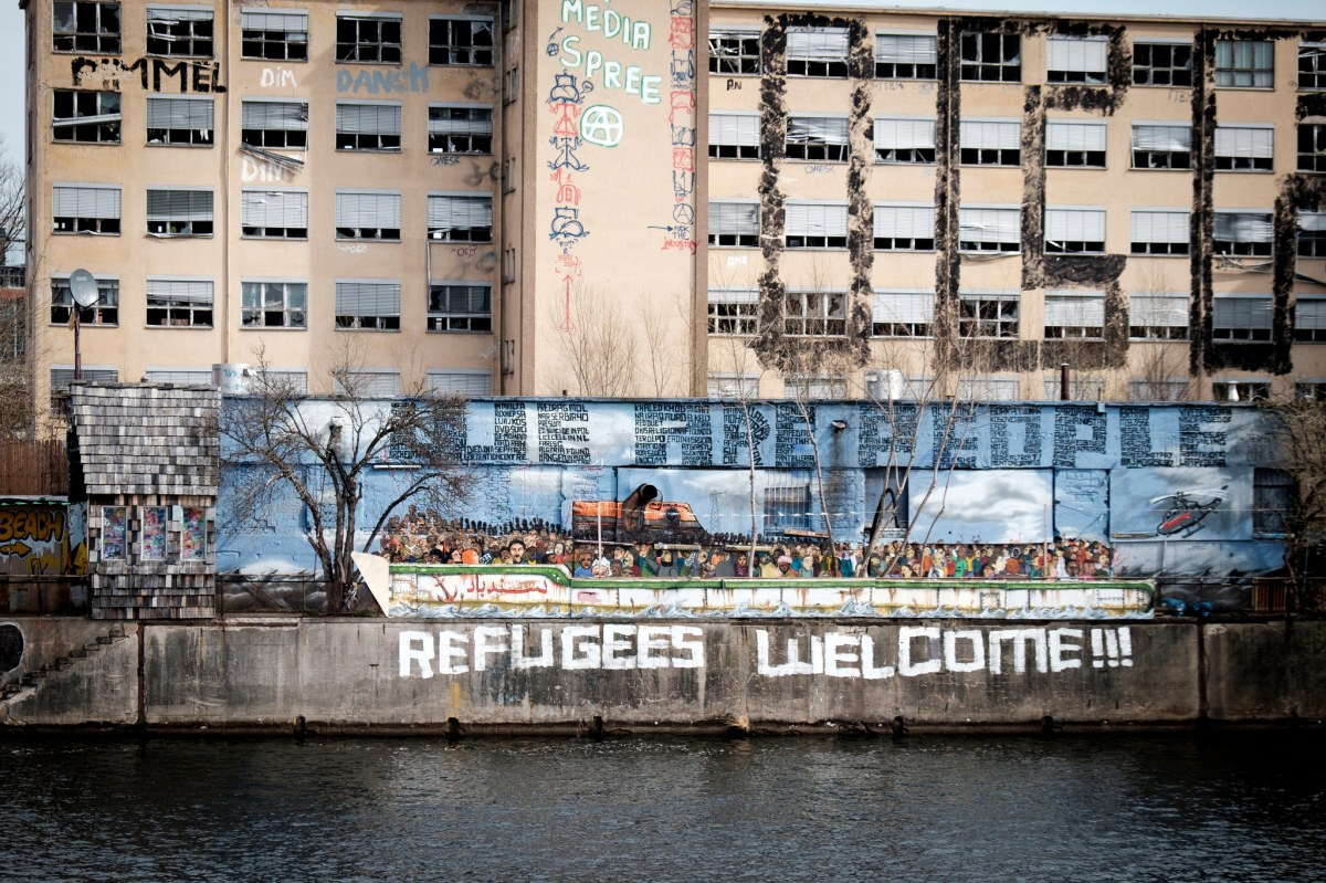pro-refugee street art in berlin, germany
