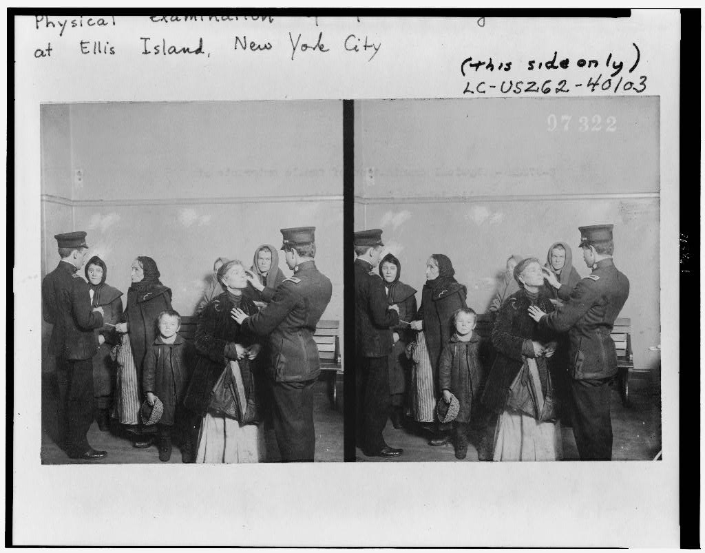 immigrants examined upon arriving at ellis island