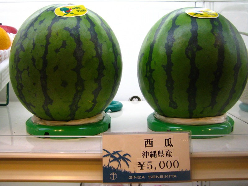 two perfect watermelons on pedestals at japan's famed sembikiya fruit store