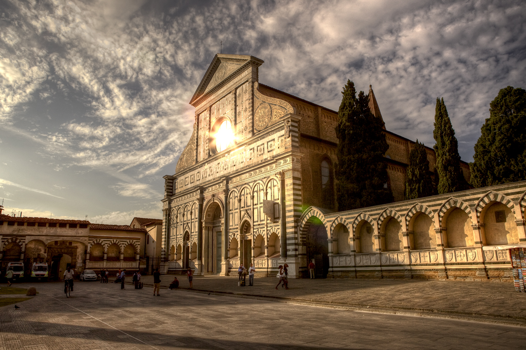 santa maria novella church in florence, italy, at sunset
