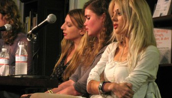 Writer Cat Marnell speaking on a panel in 2012