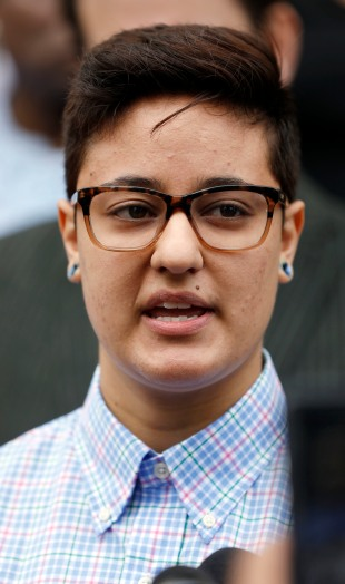Daniela Vargas speaks about the recent immigration raid that picked up more than 50 allegedly undocumented immigrants including her father and brother during a news conference Wednesday, March 1, 2017, at the Jackson, Miss., city hall. A short time after the news conference, Vargas was detained by ICE officials. (AP Photo/Rogelio V. Solis)
