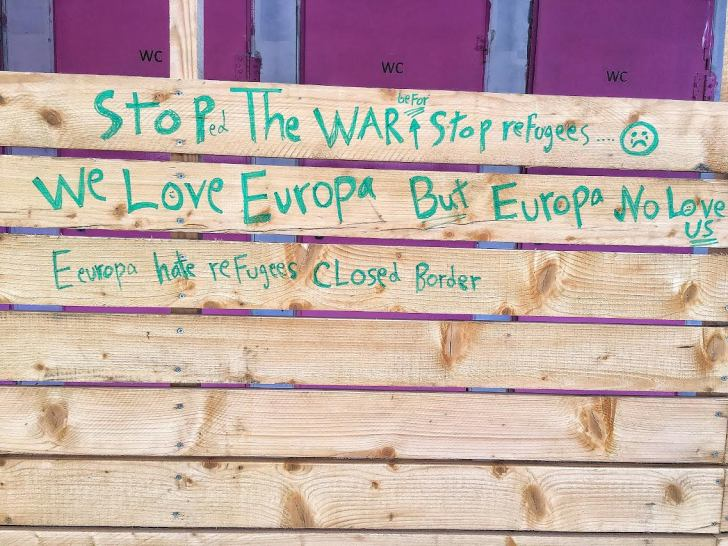 Refugee camp graffiti