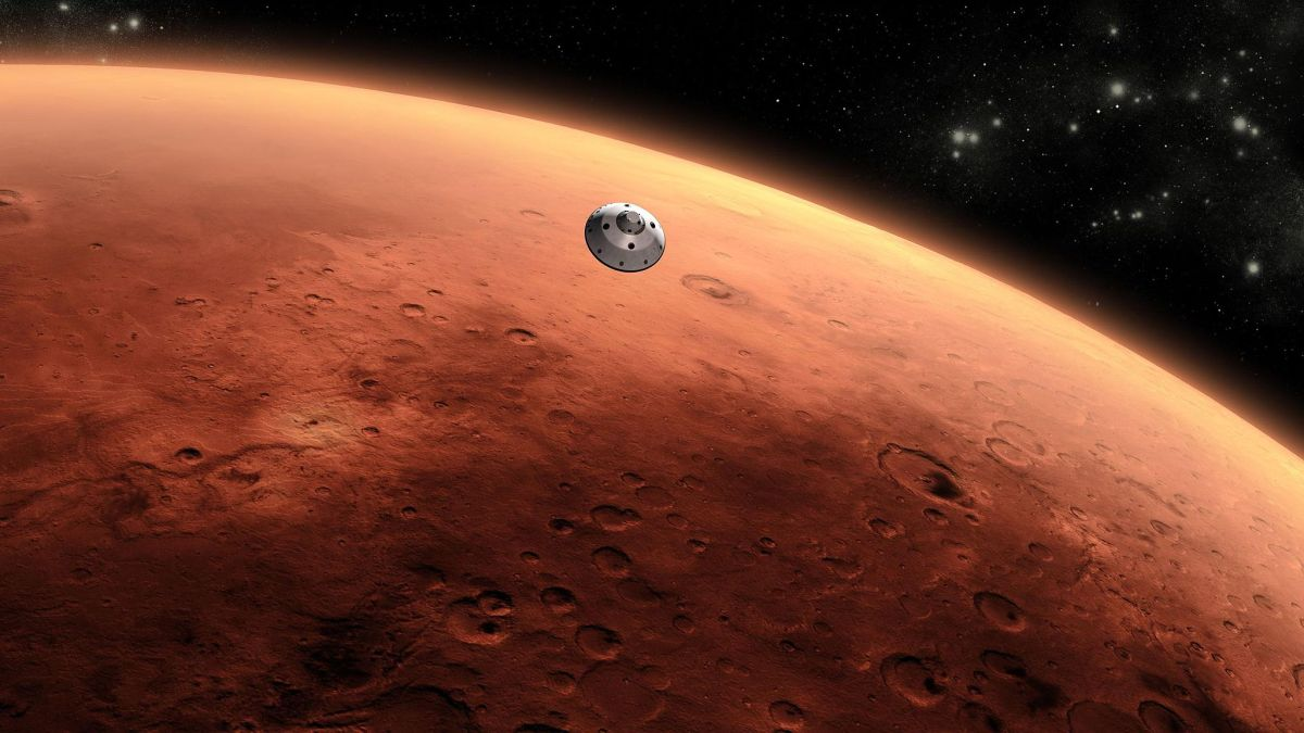 artist rendering of a satellite approaching mars