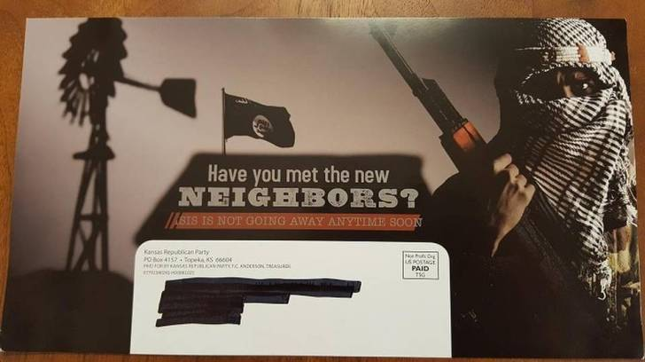 A mailer sent out by the Kansas state Republican party during the presidential campaign. Via the Southern Poverty Law Center.