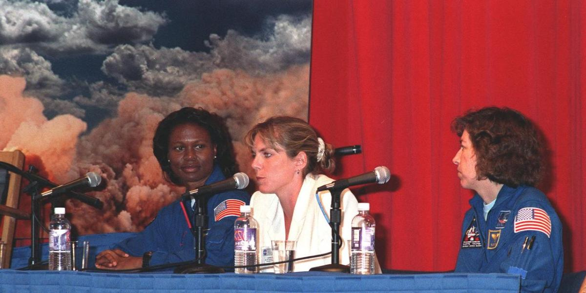 Astronaut Yvonne Cagle (left); Jennifer Harris (center); the Mars 2001 Operations System Development Manager at the Jet Propulsion Laboratory; and Astronaut Ellen Ochoa (right)
