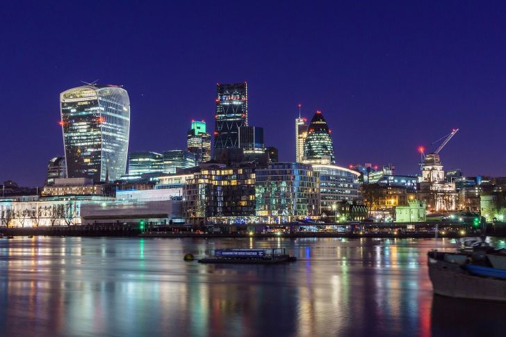 a panorama of London skyscrapers just before sunrise