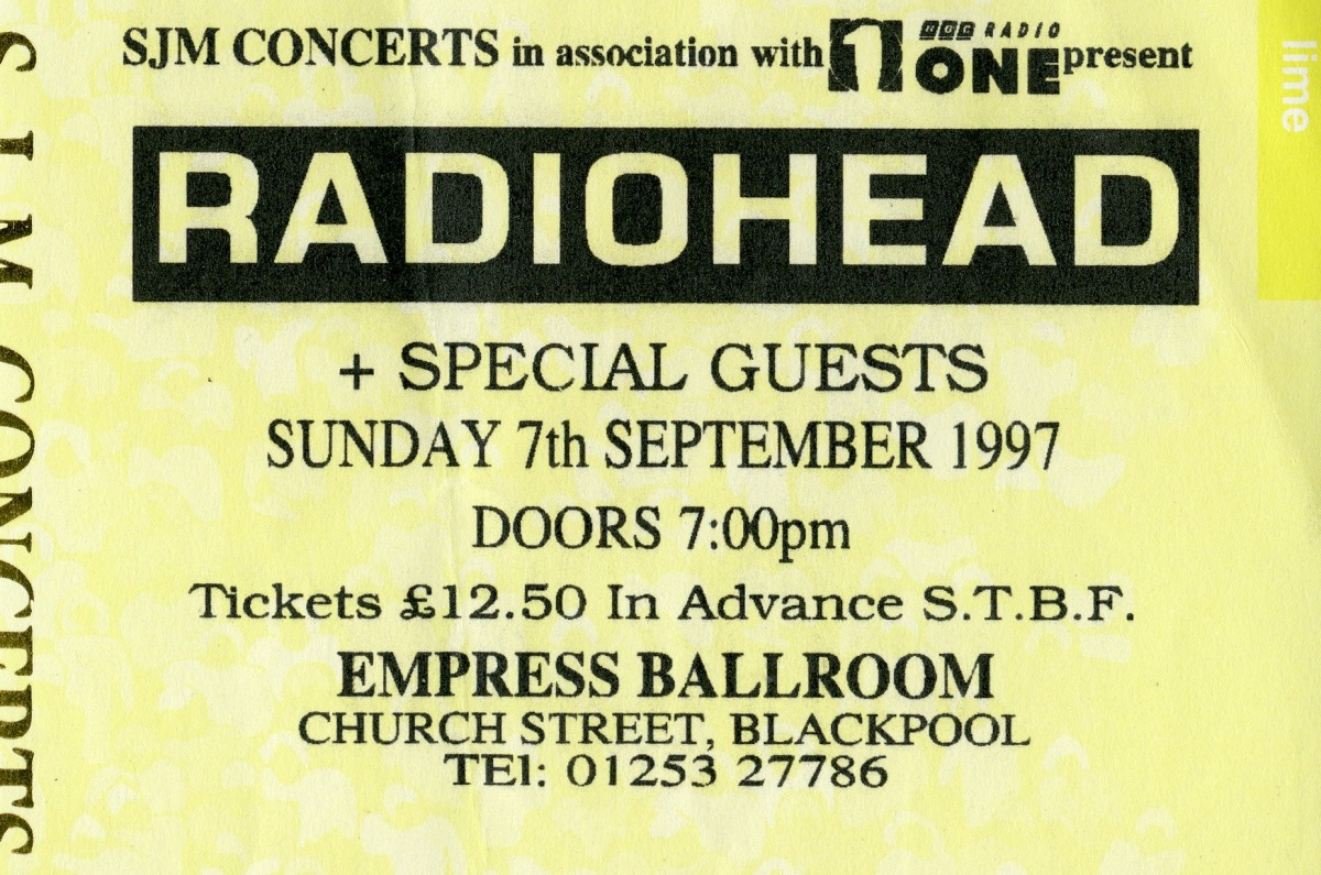 A Radiohead ticket from 1997