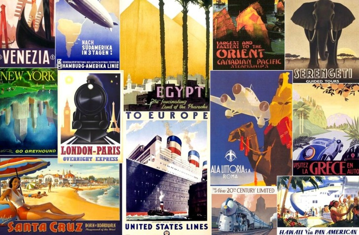 a collection of travel posters advertising vacation destinations