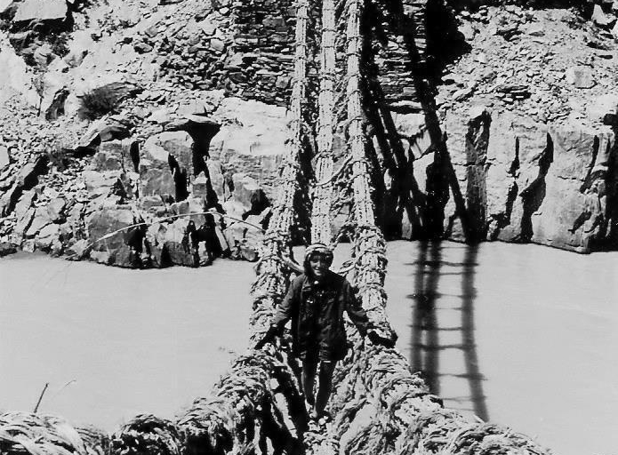 Rope bridge, Ladakh, 1981
