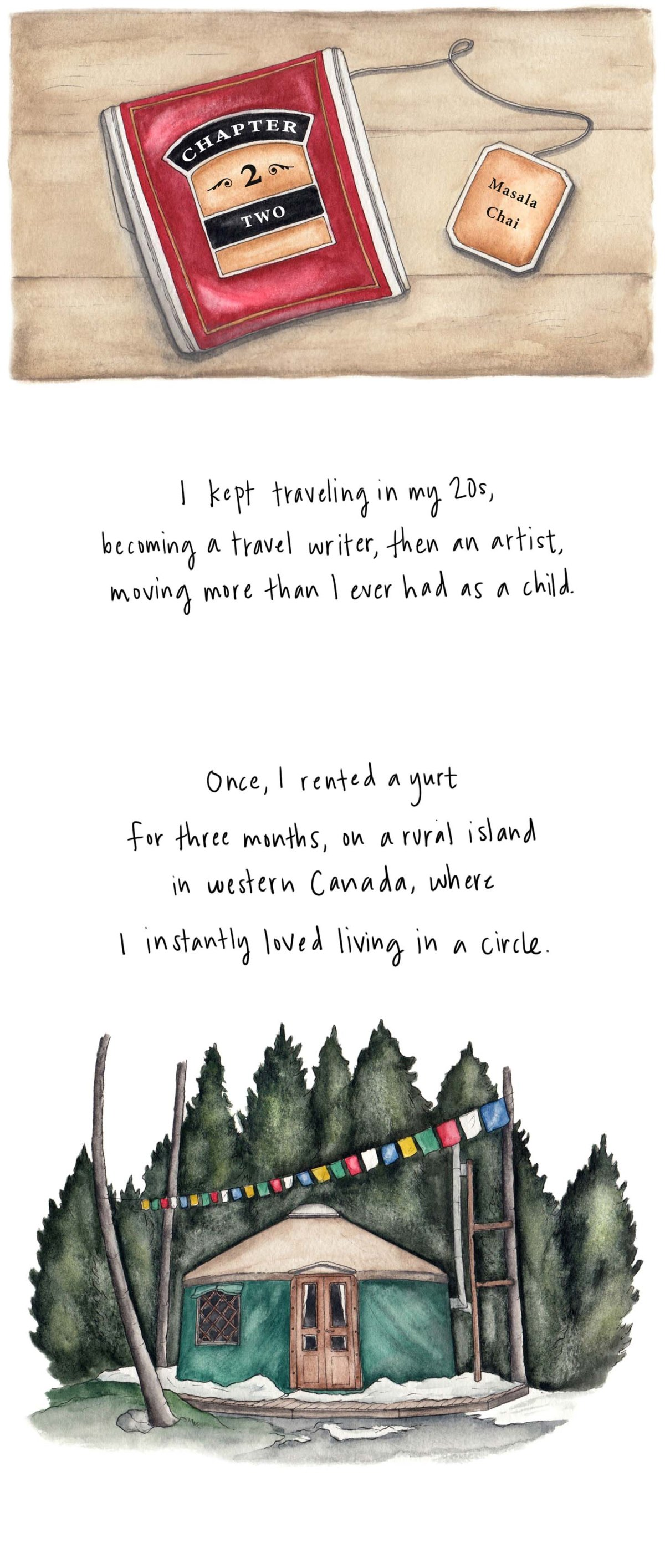 I kept traveling in my 20s, becoming a travel writer, then an artist, moving more than I ever had as a child. Once, I rented a yurt for three months on a rural island in western Canada, where I instantly loved living in a circle.