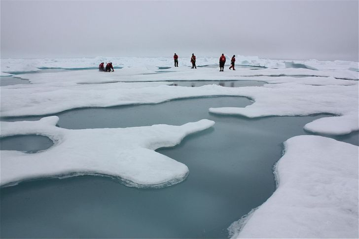 Scientists study ice on the Chukchi Sea