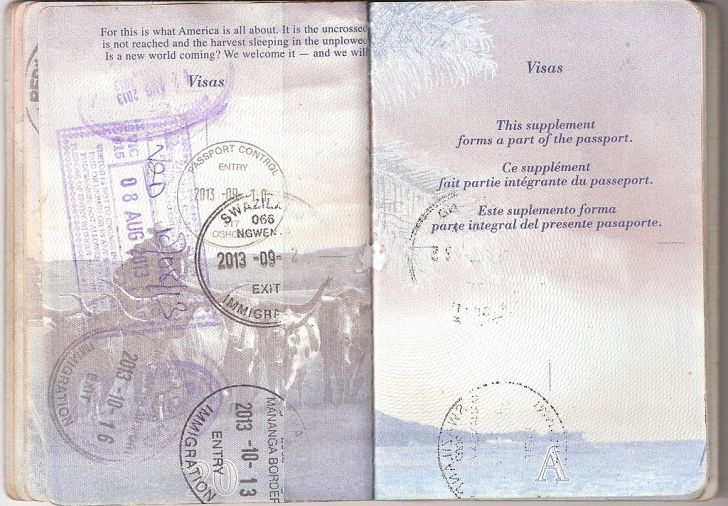 US passport pages with visa stamps