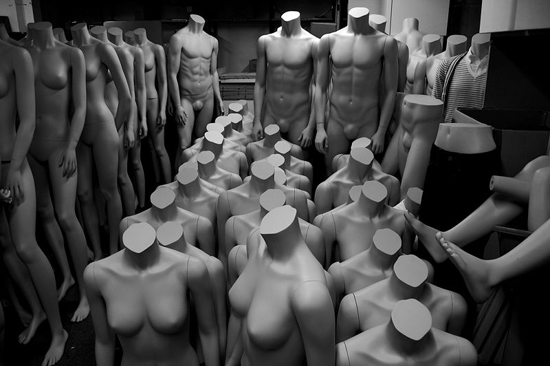 Male and female mannequins In storage