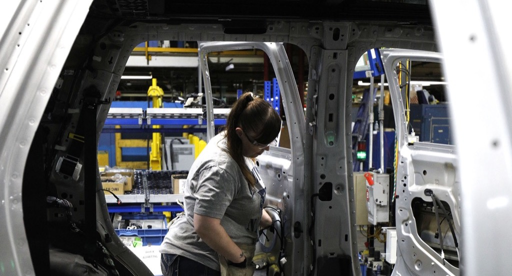 Woman working at Ford plant
