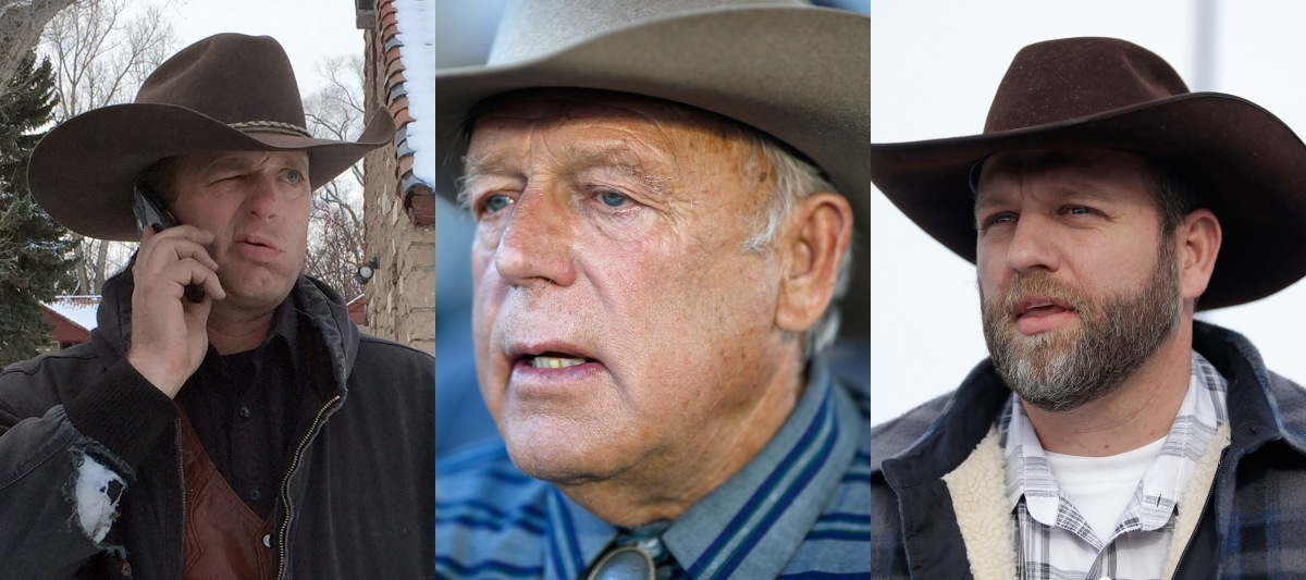 From left to right, Ryan Bundy, Cliven Bundy and Ammon Bundy. (AP  Photos/File)