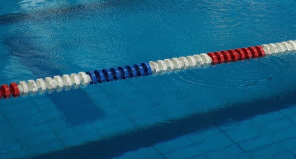 Red, white, and blue swimming pool lane divider
