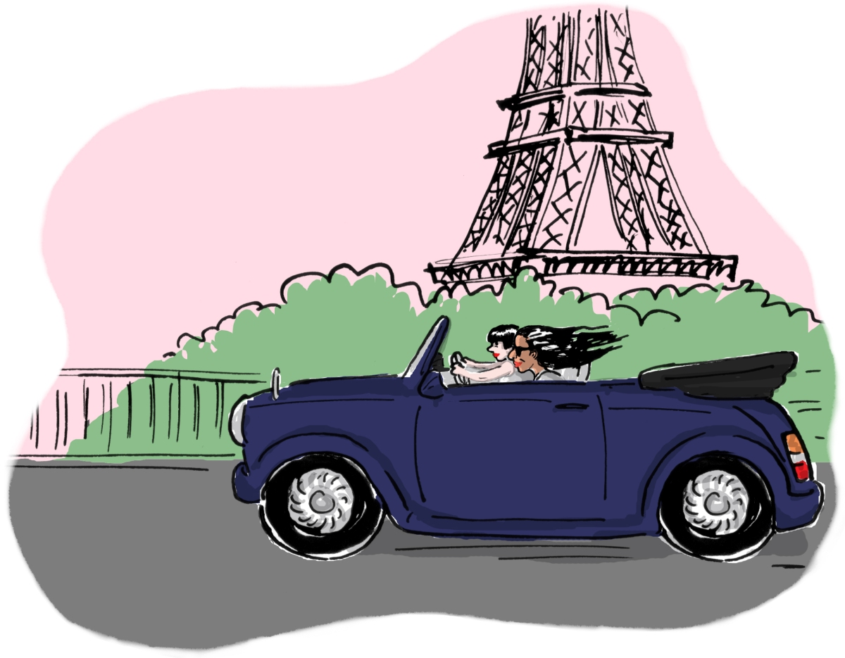 Me, at the age of 37, with my friend Alice (in her convertible Mini), driving through Paris in a sports car with the warm wind in my hair. I hadn't heard The Ballad of Lucy Jordan till I was about 40, actually: imagine my relief.