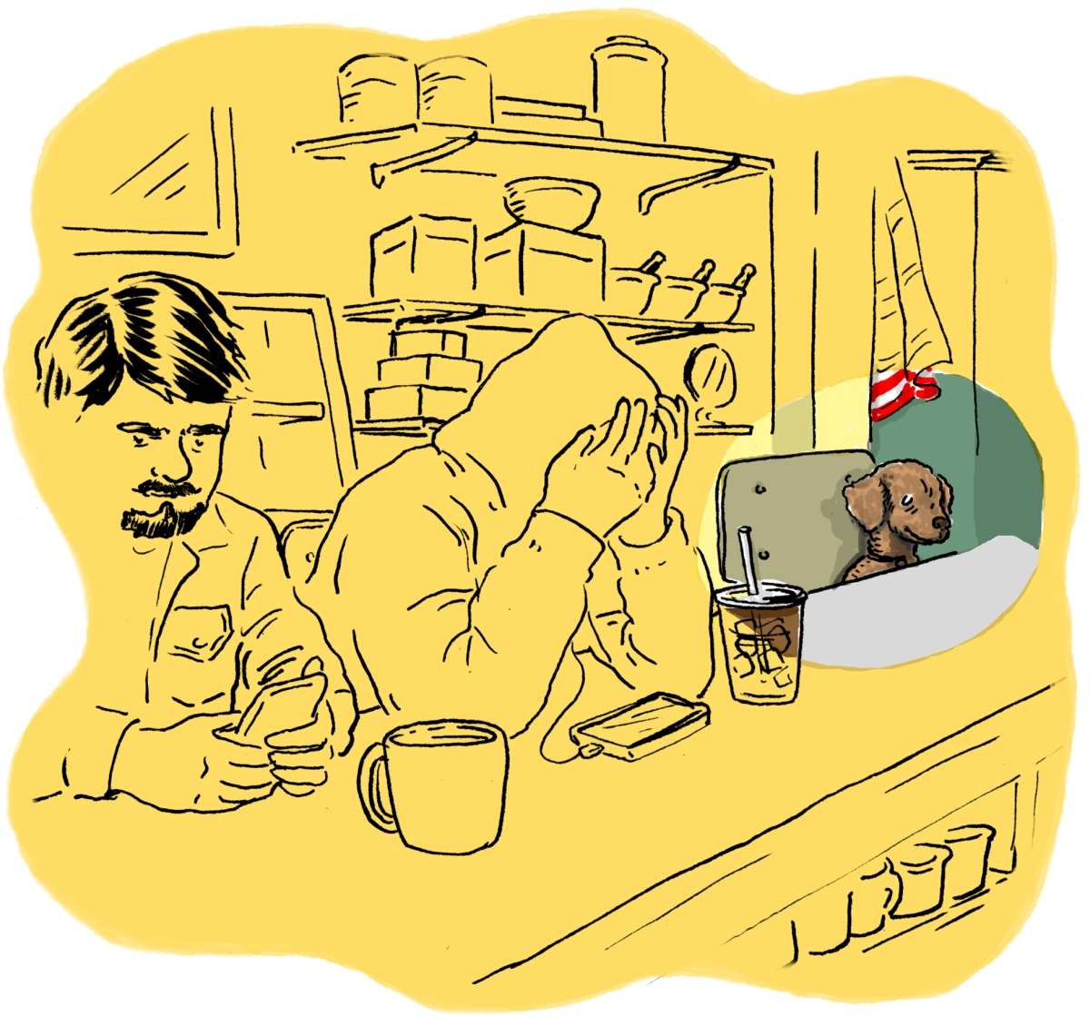 Illustration of Hammy at the counter.