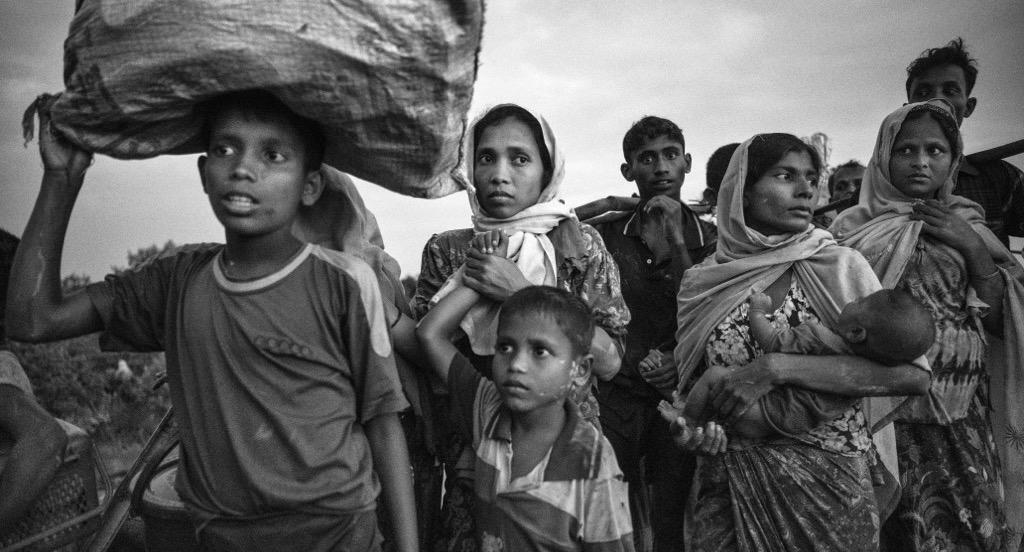 Rohingya Muslim refugees flee Myanmar.