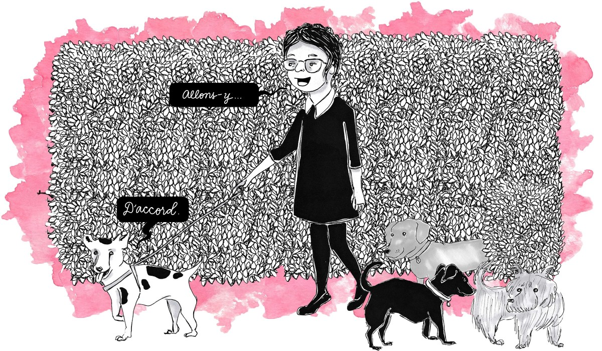 Illustrator Kate Gavino walks a group of dogs in Paris and speaks in French when giving commands.