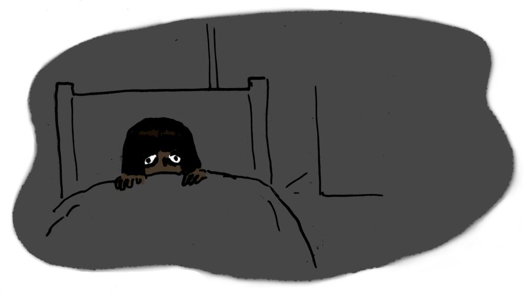 my eyes wide open in the dark in my bedroom.