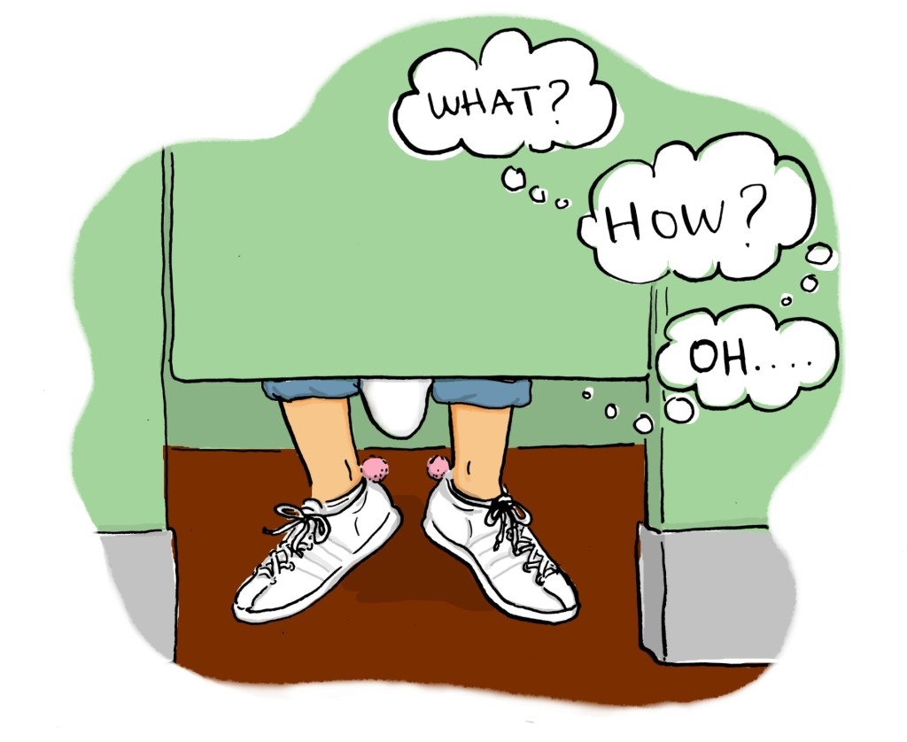 """toilet stall seen from front, my feet under the door, thought bubble saying, """"What?... How?... Oh."""""""