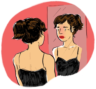 My reflection in the mirror, the little red blush beginning to appear in my face, harbinger of an impending hot flash.