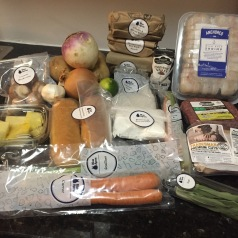 Ingredients from a three-meal Blue Apron box. (AP Photo/Bree Fowler)